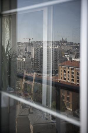 View towards the city through facade window